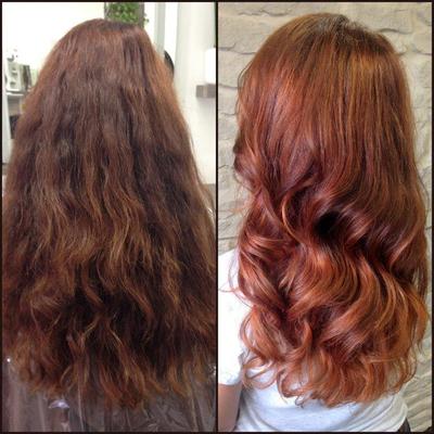 Balayage blondiert rotbraun-gefärbt Olaplex