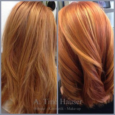 Haarfarbe kupferrot gesträhnt Olaplex