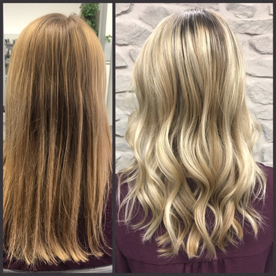 Foilayage-folienstraehnen-blond-vorher-nachher